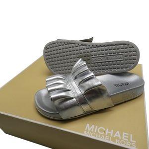 Michael Kors BELLA Ruffled Metallic Slide Sandal